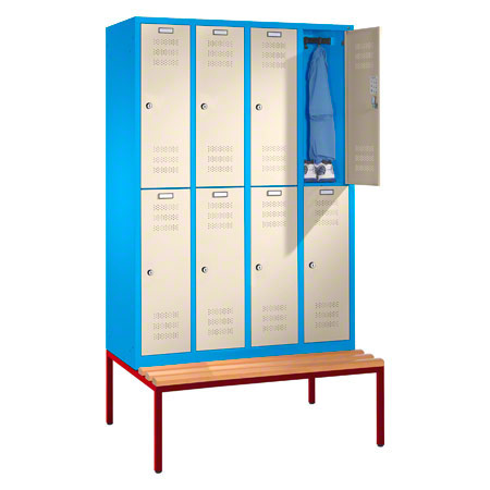 Locker cabinet with bench and 4 compartments, compartment width 40 ...