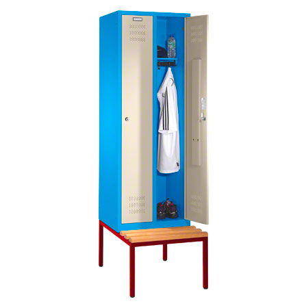 Locker cabinet with bench and 2 compartments, each 40 cm - Sport-Tec ...