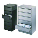 Filing cabinet with 6 drawers, light gray, with three lanes
