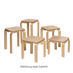 Stool 25 made of shaped wood, 27x27 cm, seat height 25 cm