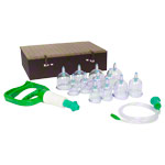 Cupping glass-set with vacuum pump, 18-piece
