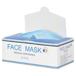 Medical disposable face mask with elastic band and nose clip, 50 pieces, blue