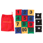Beanbags with numbers-set, 12x12 cm, 15 pieces.