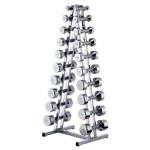 Chrome dumbbell rack with 10 pairs of dumbbells, 1-10 kg, LxWxH 45x40x121 cm