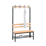 Cloakroom bench with shoe rack, 4 hooks, HxWxD 165x100x40 cm