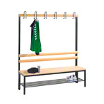 Cloakroom bench with shoe rack, 6 hooks, HxWxD 165x150x40 cm