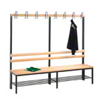 Cloakroom bench with shoe rack, 8 hooks, HxWxD 165x200x40 cm