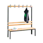 Cloakroom bench without shoe rack, 6 hooks, HxWxD 165x150x40 cm