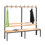 Cloakroom bench without shoe rack, 8 hooks, HxWxD 165x200x40 cm