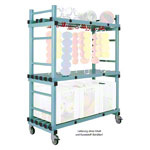 Combined plastic material cart 3 shelves, mobile