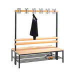 Double-sided cloakroom bench with shoe rack, 12 hooks, HxWxD cm 165x150x75.6