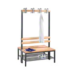 Double-sided cloakroom bench with shoe rack, 8 hooks, HxWxD 165x100x75.6 cm
