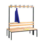 Double-sided cloakroom bench without shoe rack, 12 hooks, HxWxD cm 165x150x75.6 cm