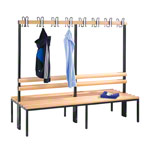 Double-sided cloakroom bench without shoe rack, 16 hooks, HxWxD 165x200x75.6 cm