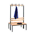 Double-sided cloakroom bench without shoe rack, 8 hooks, HxWxD 165x100x75.6 cm