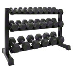 Dumbbell stand set with 12 pairs Hex dumbbells, 1-15 kg, LxWxH 119x50x76 cm