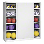 Equipment cabinet type IV with solid metal sliding doors, HxWxD 195x190x60 cm