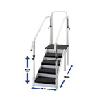 Exercise staircase with adjustable handrail, single design