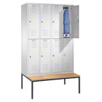 Locker cabinet with bench and 4 compartments, compartment width 40 cm