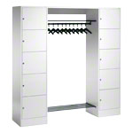 Open wardrobe for 10 people, large drawers