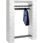 Open wardrobe for 10 people, small drawers
