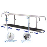 Parallel bars exclusive, extra deep, beam length 4 m made of metal