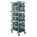 Plastic material cart set, 4 pcs., mobile, incl. 3 containers