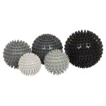 Spiky Massage Ball hard, Set of 5: 1x ø 6 cm, ø 7 cm, ø 8 cm, ø 9 cm, ø 10 cm