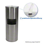 Sport-Tec disinfection wipe dispenser, stainless steel incl. waste garbage can