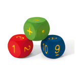 VOLLEY foam learning cubes 3-piece set, 16x16x16 cm, numbers and arithmetic symbols