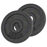 Weight plate made of cast iron, Ø 3 cm, 1.25 kg, pair