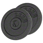 Weight plate made of cast iron, Ø 3 cm, 2.5 kg pair
