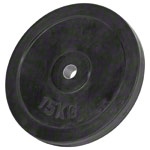Weight plate with rubber coating, Ø 3 cm, 15 kg, one piece