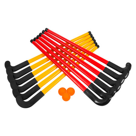 Hockey Set 15 pcs.: 6 x rackets red, 6 x racket yellow, 3 x balls