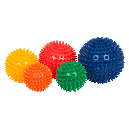 Spiky Massage Ball medium, Set of 5: 1x ø 6 cm, ø 7 cm, ø 8 cm, ø 9 cm, ø 10 cm